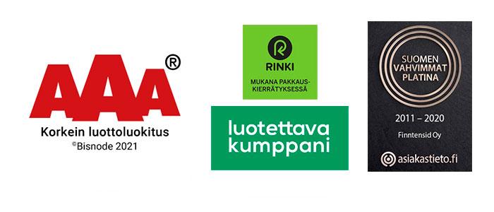 Sertifikaatit, Korkein luottoluokitus, Luotettava Kumppani, Suomen Vahvimmat